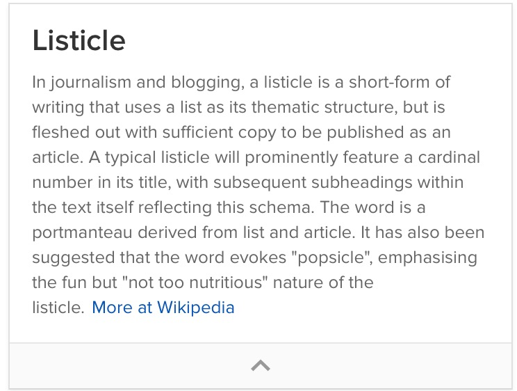 wikipedia listicle definition